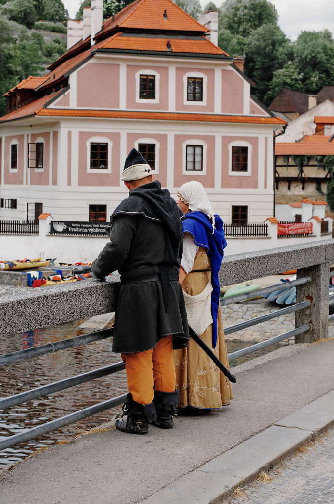 A couple on a bridge