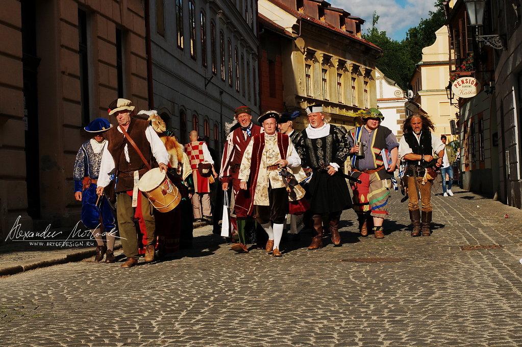 Bright medieval crowd
